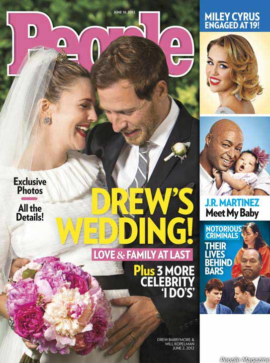 Drew Barrymore walked down the aisle for a third time on June 2, as reports claim the 37-year-old actress married her fiance Will Kopelman.  The couple tied the knot at Barrymore&#39;s home in Montecito, California, according to People magazine. A rabbi officiated the ceremony and guests included Reese Witherspoon and her husband Jim Toth, Jimmy Fallon -- who co-starred with Barrymore on the 2005 film &#39;Fever Pitch&#39; -- and her &#34;Charlie&#39;s Angel&#34; co-star Cameron Diaz.  The two welcomed their first child on September 26.  &#40;Pictured: Drew Barrymore and Will Kopelman appear on the cover of People magazine&#39;s June 18, 2012 issue, weeks after their wedding on June 2.&#41; <span class=meta>(People &#47; Time, Inc.)</span>