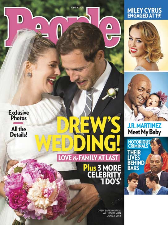 Drew Barrymore and Will Kopelman appear on the cover of People magazine's June 18, 2012 issue, weeks after their wedding on June 2.