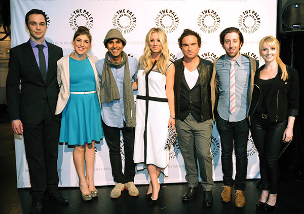 Pictured L to R: Jim Parsons, Mayim Bialik, Kunal Nayyar, Kaley Cuoco, Johnny Galecki, Simon Helberg and Melissa Rauch attend the Paley Center for Media&#39;s PaleyFest honoring the CBS show &#39;The Big Bang Theory&#39; at the Saban Theatre, courtesy of Samsung Galaxy, on Wednesday, March 13, 2013 in Los Angeles. <span class=meta>(Kevin Parry for Paley Center for Media)</span>