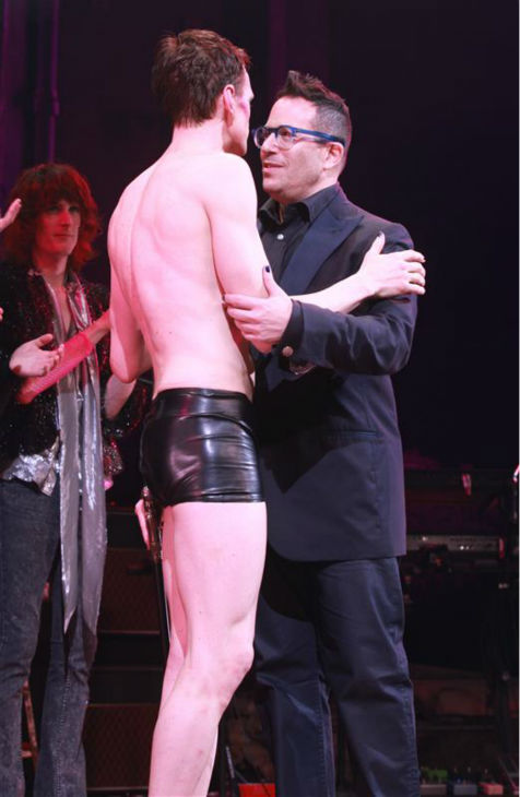 Neil Patrick Harris appears hugs director Michael Mayer on stage during opening night of the rock musical &#39;Hedwig and the Angry Itch&#39; on Broadway in New York on April 22, 2014. The &#39;How I Met Your Mother&#39; and &#39;Doogie Howser&#39; alum plays a transgender East German rocker in the show, which is set during the Cold War. Hedwig lives in a trailer park in Kansas and is the singer of a band called the Angry Itch. She longs to be reunited with her lover, Tommy. <span class=meta>(Adam Nemser &#47; Startraksphoto.com)</span>