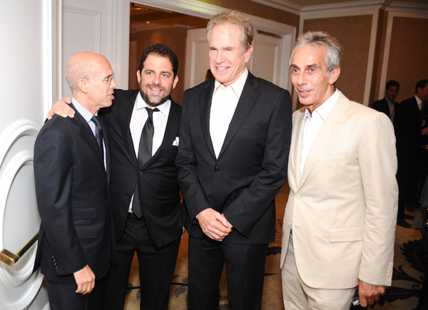 Dreamworks CEO Jeffrey Katzenberg, hosts Brett Ratner and Warren Beatty and the General Manager of the Beverly Hills Hotel Ed Mady attend the 100th anniversary celebration of the Beverly Hills Hotel and Bungalows, supporting the Motion Picture &amp; Television Fund and the American Comedy Fund, on June 16, 2012 in Beverly Hills, California. <span class=meta>(Stefanie Keenan &#47; Getty Images for The Beverly Hills Hotel)</span>