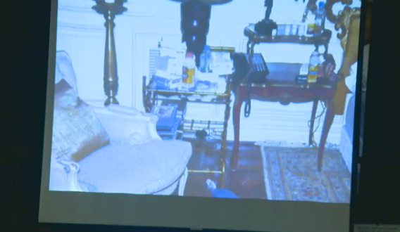 Oct. 5, 2011: During Conrad Murray&#39;s involuntary manslaughter trial, L.A. Coroner&#39;s Office investigator Elissa Fleak identified items she recovered from the bedroom where Michael Jackson was found lifeless. She said she found a 20 ml bottle of propofol on the floor, near the bed. <span class=meta>(OTRC)</span>