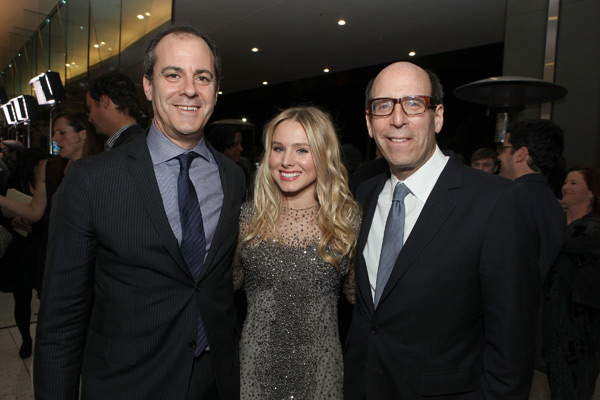 President of Entertainment at Showtime Networks David Nevins, cast member Kristen Bell and Chairman and CEO of Showtime Networks appear at the Los Angeles premiere of the cable channel&#39;s new series, &#39;House of Lies,&#39; on Jan. 4, 2012. <span class=meta>(Eric Charbonneau &#47; WireImage)</span>
