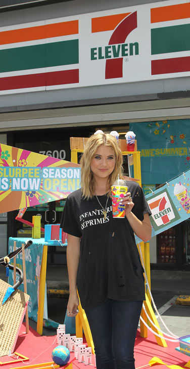 "<div class=""meta ""><span class=""caption-text "">Actress Ashley Benson, of ABC Family's hit TV show 'Pretty Little Liars,' appears at a 7-Eleven to celebrate 7-Eleven's Awesummer Summer Slurpee Days on May 22, 2013 in Los Angeles, California. All Slurpees will be sold for 49 cents during Memorial Day Weekend 2013. (Jonathan Leibson / Getty Images for 7-Eleven)</span></div>"