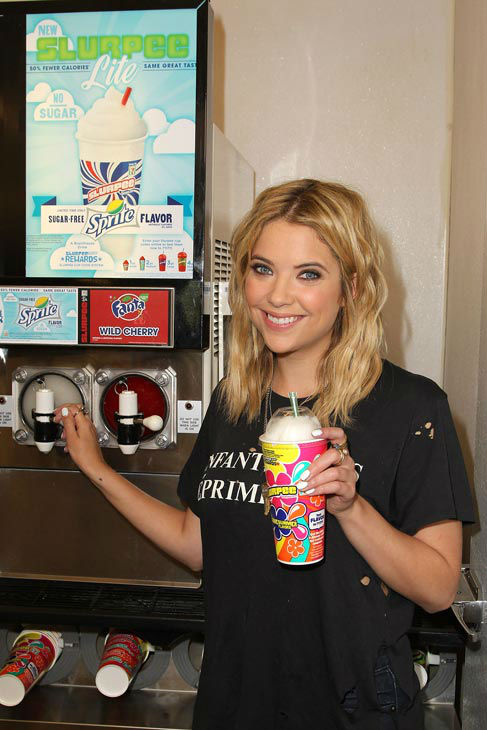 "<div class=""meta image-caption""><div class=""origin-logo origin-image ""><span></span></div><span class=""caption-text"">Actress Ashley Benson, of ABC Family's hit TV show 'Pretty Little Liars,' appears at a 7-Eleven to celebrate 7-Eleven's Awesummer Summer Slurpee Days on May 22, 2013 in Los Angeles, California. All Slurpees will be sold for 49 cents during Memorial Day Weekend 2013. (Jonathan Leibson / Getty Images for 7-Eleven)</span></div>"