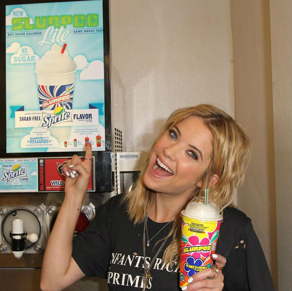 Actress Ashley Benson, of ABC Family&#39;s hit TV show &#39;Pretty Little Liars,&#39; appears at a 7-Eleven to celebrate 7-Eleven&#39;s Awesummer Summer Slurpee Days on May 22, 2013 in Los Angeles, California. <span class=meta>(Jonathan Leibson &#47; Getty Images for 7-Eleven)</span>