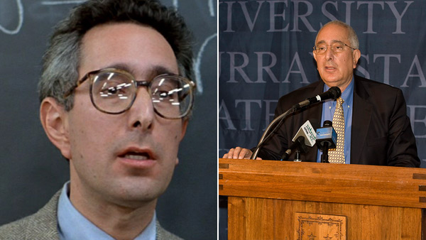 Ben Stein appears in a scene from the 1986 movie 'Ferris Bueller's Day Off.' / Ben Stein gives a speech at Murray State University in February 2011.