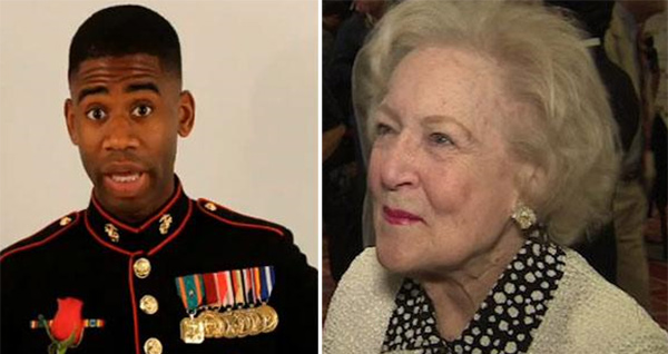 Pictured: Marine Sgt. Ray Lewis asks Betty White to the Marine Corps Ball, as seen in the video posted on YouTube on July 15, 2011. / Betty White talks to OnTheRedCarpet.com in April 2011 at the Actors and Others for Animals 40th anniversary.
