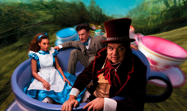 Beyonce plays Alice, Oliver Platt plays the Mad Hatter and Lyle Lovett play the March Hare in Annie Leibowitz's Disney Dream Dream Portraits series.