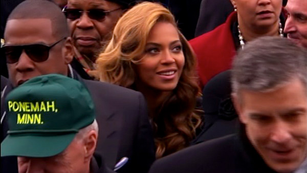 Beyonce is seen in the crowd after President Barack Obama&#39;s ceremonial swearing-in ceremony during the 57th Presidential Inauguration. <span class=meta>(ABC News)</span>