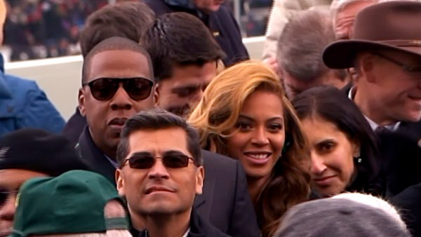 Beyonce is seen in the crowd after President Barack Obama's ceremonial swearing-in ceremony during the 57th Presidential Inauguration.