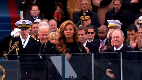 Beyonce performs the national anthem after President Barack Obama's ceremonial swearing-in ceremony during the 57th Presidentia