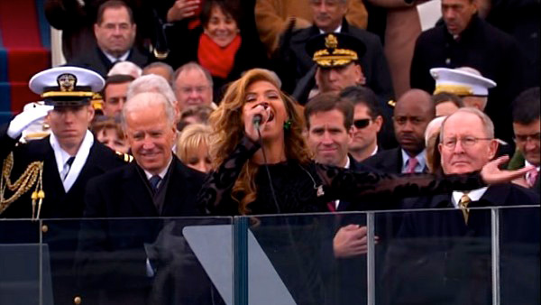 Beyonce performs the national anthem after President Barack Obama's ceremonial swearing-in ceremony during the 57th Presidential I
