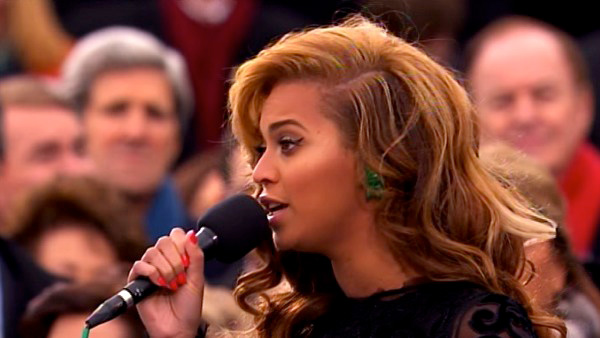 Beyonce performs the national anthem after President Barack Obama&#39;s ceremonial swearing-in ceremony during the 57th Presidential Inauguration. <span class=meta>(ABC News)</span>