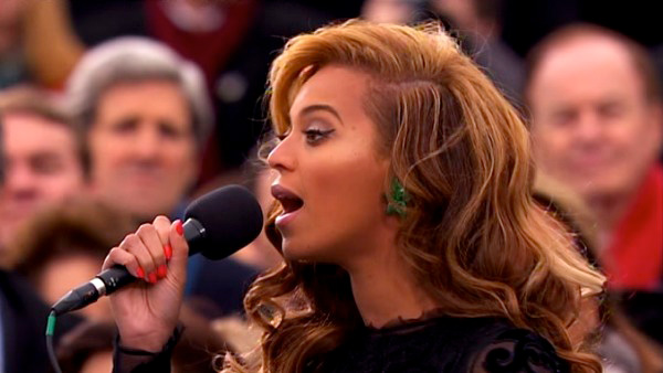 Beyonce performs the national anthem after President Barack Obama's ceremonial swearing-in ceremony during the 57th Presidential Inauguration.