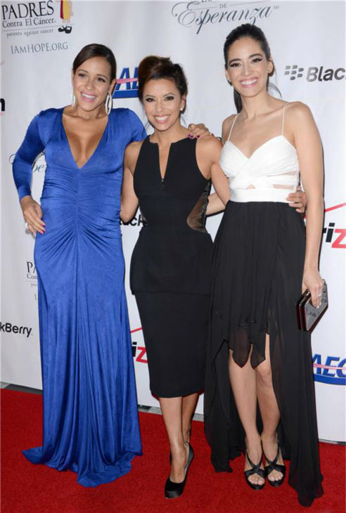 A pregnant Dania Ramirez of Lifetime Television's 'Devious Maids,' Eva Longoria -- a co-producer of the show, and co-star Edy Ganem pose at the El Sueno De Esperanza gala, hosted by PADRES Contra El Cancer, at Club Nokia in Los Angeles on Sept. 24, 2013.