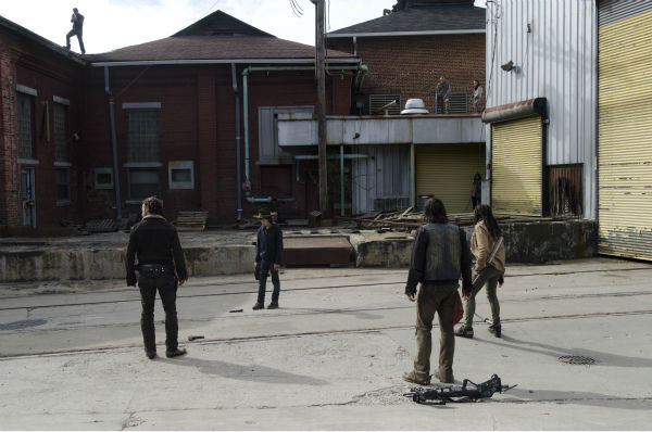 Rick Grimes &#40;Andrew Lincoln&#41;, Carl Grimes &#40;Chandler Riggs&#41;, Daryl Dixon &#40;Norman Reedus&#41; and Michonne &#40;Danai Gurira&#41; are surrounded by snipers in Terminus in this scene from AMC&#39;s &#39;The Walking Dead&#39; season 4 finale, which aired on March 30, 2014. <span class=meta>(Gene Page &#47; AMC)</span>