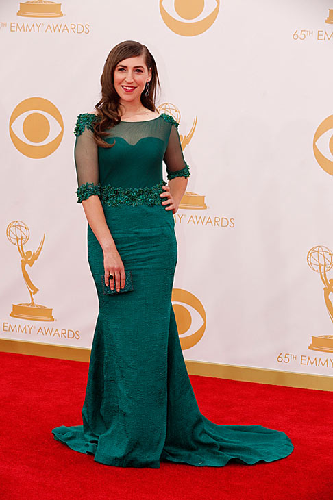 "<div class=""meta image-caption""><div class=""origin-logo origin-image ""><span></span></div><span class=""caption-text"">Mayim Bialik (nominated for 'The Big Bang Theory') poses on the red carpet at the 2013 Primetime Emmy Awards at the Nokia Theatre L.A. Live in Los Angeles on Sept. 22, 2013. (Trae Patton / CBS)</span></div>"