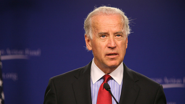 Joe Biden appears in a photo from a speech at...