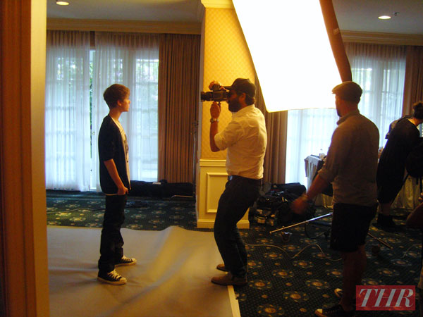 Justin Bieber pictured in a behind-the-scenes photo from The Hollywood Reporter's February 2011 shoot.