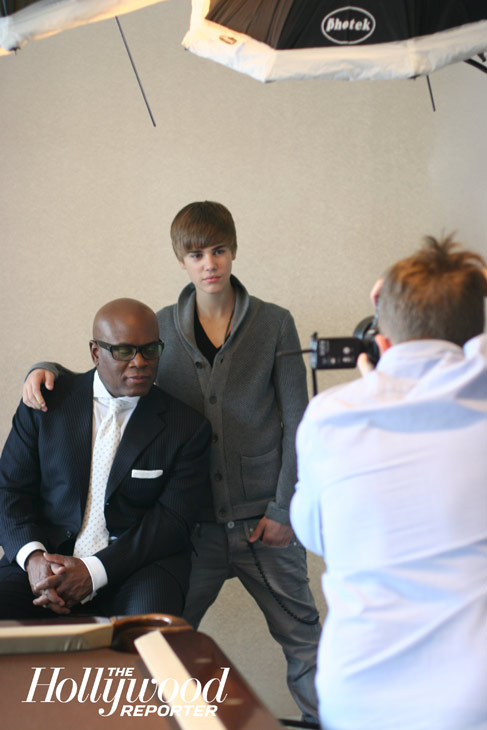 Justin Bieber and Antonio &#34;L.A.&#34; Reid, chairman of Island Def Jam Music Group pictured in a behind-the-scenes photo from The Hollywood Reporter&#39;s February 2011 shoot. <span class=meta>(Jeff Lipsky &#47; The Hollywood Reporter)</span>