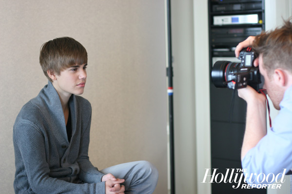 Justin Bieber in a behind-the-scenes photo from The Hollywood Reporter's February 2011 photoshoot.