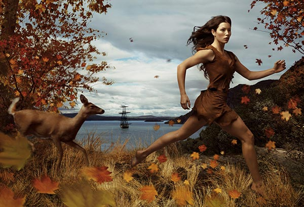 Jessica Biel plays Pocahontas in Annie Leibowitz's Disney Dream Dream Portraits series.