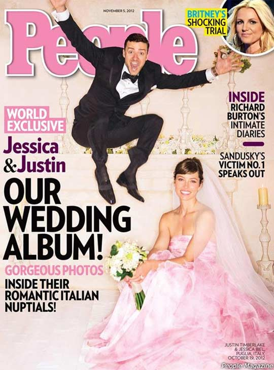 Jessica Biel and Justin Timberlake are pictured in their wedding gown and tuxedo on the cover of People magazine&#39;s Oct. 19, 2012 issue. The two wed in Italy that day. <span class=meta>(People &#47; Time, Inc.)</span>
