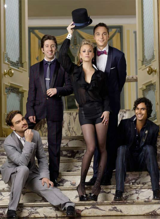 Comedy category: The cast of CBS&#39; &#39;Big Bang Theory,&#39; John Galecki, Kaley Cuoco, Jim Parsons, Simon Helberg and Kunal Nayyar earn between &#36;75,000 and &#36;250,000 per episode each for their roles on the hit comedy, according to TVGuide.com. &#40;Pictured: John Galecki, Kaley Cuoco, Jim Parsons, Simon Helberg and Kunal Nayyar appear in a promotional photo for &#39;Big Bang Theory.&#39;&#41; <span class=meta>(CBS)</span>