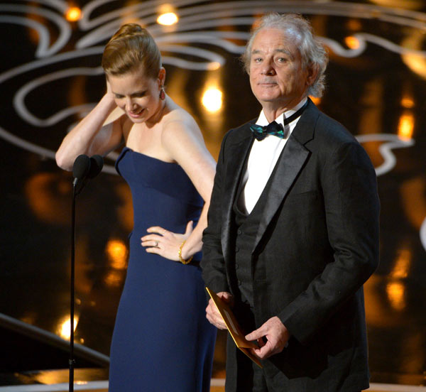 Bill Murray pays tribute to Harold Ramis - the actor appeared on stage to present the Oscar for Best Cinematography and after reading the names of the nominees, said: &#39;We forgot one. Harold Ramis, for &#39;Caddyshack,&#39; &#39;Ghostbusters&#39; and &#39;Groundhog Day.&#39;&#39; He and Ramis worked together on those films. The iconic comedy film writer, actor and directed died at age 69 on Feb. 24. <span class=meta>(John Shearer &#47; Invision &#47; AP)</span>