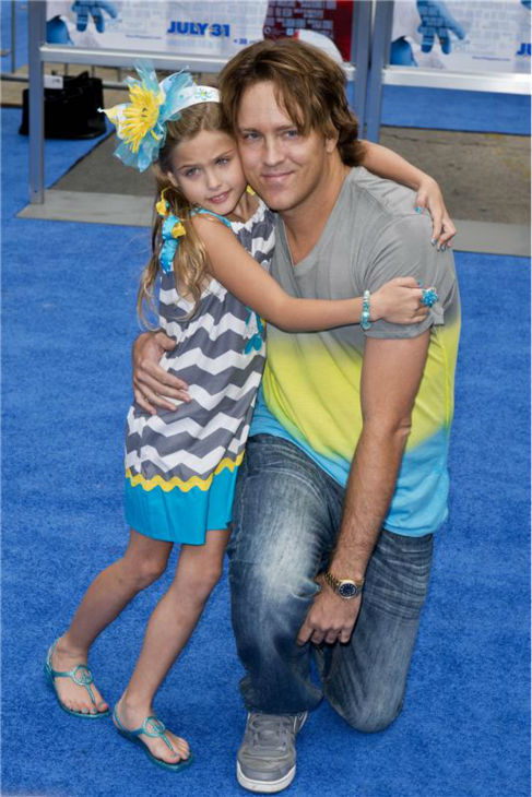 Larry Birkhead and Dannielynn, his 6-year-old daughter with late model Anna Nicole Smith, attend the premiere of &#39;The Smurfs 2&#39; at the Regency Village Theatre in Westwood, near Los Angeles, on July 28, 2013. <span class=meta>(Lionel Hahn &#47; Abacausa &#47; startraksphoto.com)</span>