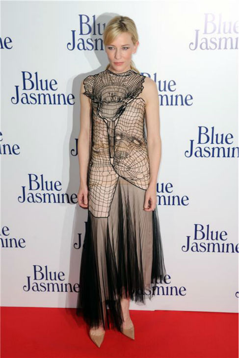 Cate Blanchette, wearing a  Christopher Kane Resort 2014 dress, attends the premiere of Woody Allen&#39;s film &#39;Blue Jasmine&#39; at the UGC Cine Cite Bercy in Paris on Aug. 27, 2013. <span class=meta>(Alban Wyters &#47; Abaca &#47; startraksphoto.com)</span>