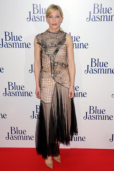 "<div class=""meta ""><span class=""caption-text "">Cate Blanchette, wearing a  Christopher Kane Resort 2014 dress, attends the premiere of Woody Allen's film 'Blue Jasmine' at the UGC Cine Cite Bercy in Paris on Aug. 27, 2013. (Alban Wyters / Abaca / startraksphoto.com)</span></div>"