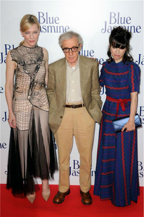 Cate Blanchett, Woody Allen and Sally Hawkins attend the premiere of Allen&#39;s film &#39;Blue Jasmine&#39; at the UGC Cine Cite Bercy in Paris on Aug. 27, 2013. <span class=meta>(Alban Wyters &#47; Abaca &#47; startraksphoto.com)</span>