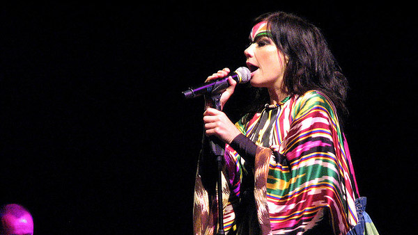 Bjork appears in a photo performing in Chile...