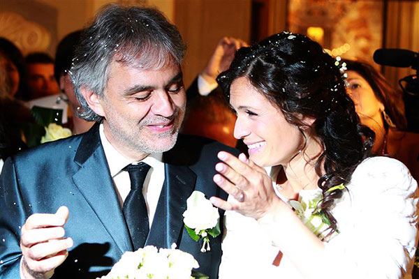 Andrea Bocelli and longtime partner Veronica Berti appear at their wedding at the Sanctuary of Montenero in Italy on March 21, 2014. This marks the second marriage for the famed Italian tenor.