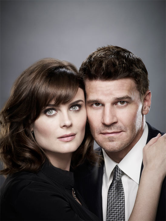 Emily Deschanel and David Boreanaz appear in a promotional photo for 'Bones.'