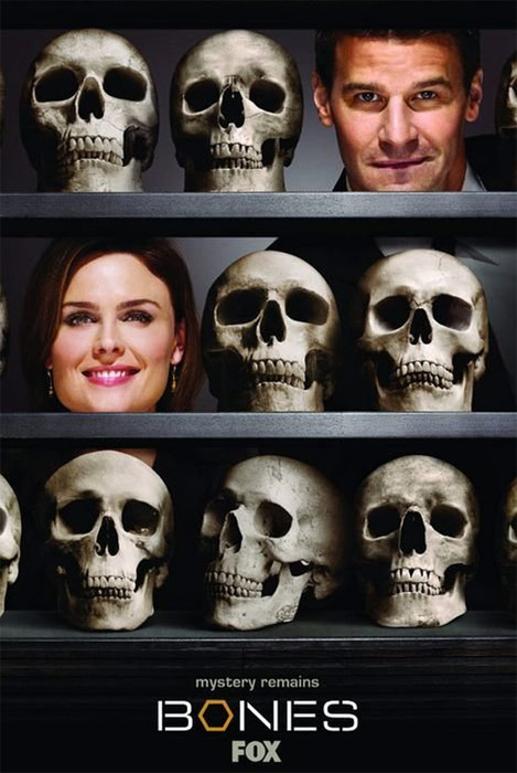 (Pictured: Emily Deschanel and David Boreanaz appear in a promotional photo for 'Bones.')