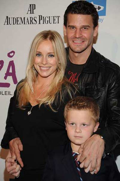 David Boreanaz and wife Jamie Bergman attend an event for Heal the Bay with their son Jaden on Oct. 19, 2009.