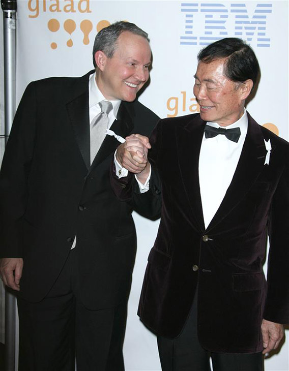 &#39;Star Trek&#39; alum George Takei and Brad Takei, formerly Brad Altman, appear at the 2009 GLAAD Media Awards in Los Angles on April 18, 2009. The two wed in September 2008. <span class=meta>(Andy Fossum &#47; Startraksphoto.com)</span>