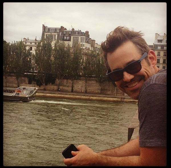 'Buffy' alum Nicholas Brendon's social media manager tweeted this photo of the actor on July 4, 2013, saying: 'Happy Fourth of July! From Paris with @nicholasbrendon!' The actor retweeted the picture.