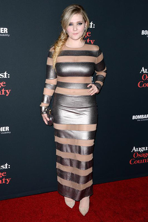 "<div class=""meta image-caption""><div class=""origin-logo origin-image ""><span></span></div><span class=""caption-text"">Abigail Breslin appears at the 'August: Osage County' Los Angeles premiere on Dec. 16, 2013. (Sara De Boer/startraksphoto.com)</span></div>"