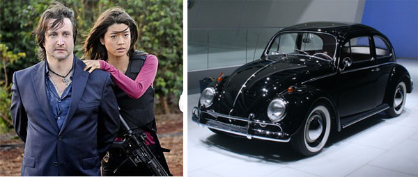 On the right, Bronson Pinchot (left) and Grace Park (right) in a scene from 'Hawaii Five-O.'/Max, the Volkswagen Beetle.