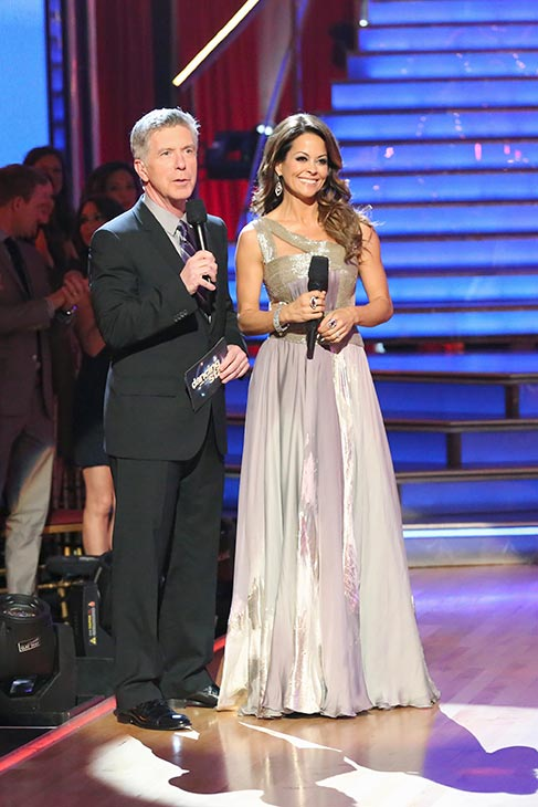 "<div class=""meta ""><span class=""caption-text "">'Dancing With The Stars' hosts Tom Bergeron and Brooke Burke Charvet appear on the season premiere on March 18, 2013. (ABC Photo / Adam Taylor)</span></div>"