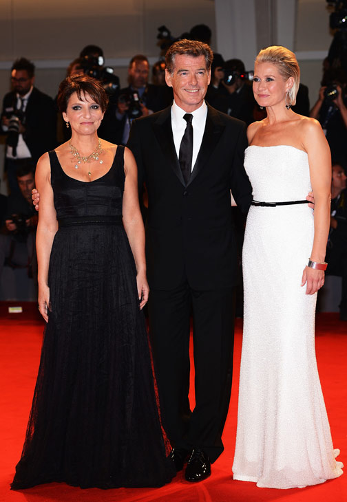 Pierce Brosnan, wearing a suit and a Squadra Rose Gold Jaeger-LeCoultre watch, co-star Trine Dyrholm (right) and director Susanne Bier attend the premiere of 'Love Is All You Need' at the Venice Film Festival in Italy on Sept. 2, 2012.