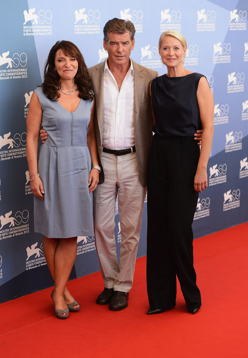 Pierce Brosnan, wearing a suit and a Squadra Rose Gold Jaeger-LeCoultre watch, co-star Trine Dyrholm (right) and director Susanne Bier attend the photo call for 'Love Is All You Need' at the Venice Film Festival in Italy on Sept. 2, 2012.