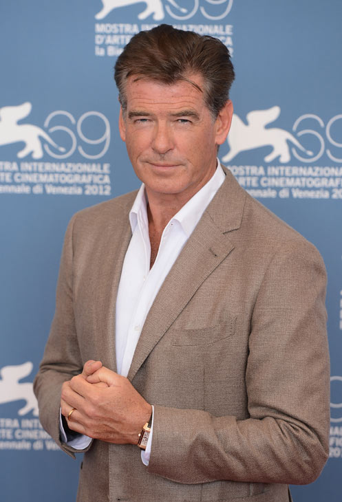 Pierce Brosnan (second from right), wearing a suit and a Squadra Rose Gold Jaeger-LeCoultre watch, attends the photo call for 'Love Is All You Need