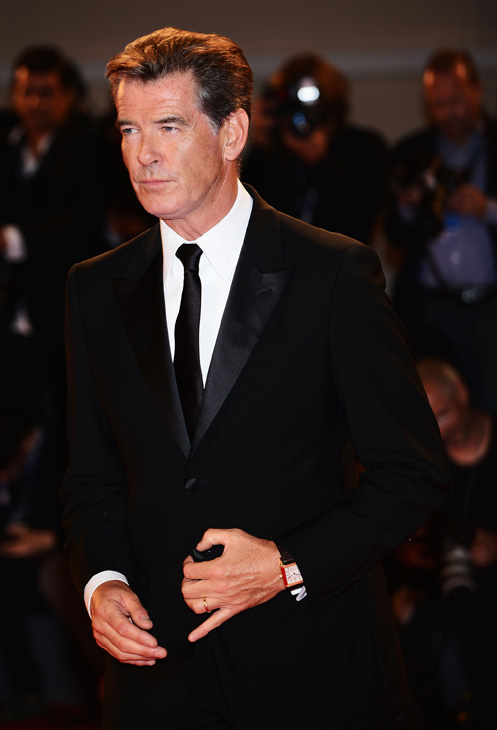 Pierce Brosnan, wearing a suit and a Squadra Rose Gold Jaeger-LeCoultre watch, attends the premiere of &#39;Love Is All You Need&#39; at the Venice Film Festival in Italy on Sept. 2, 2012. <span class=meta>(Ian Gavan&#47;Getty Images for Jaeger-LeCoultre)</span>