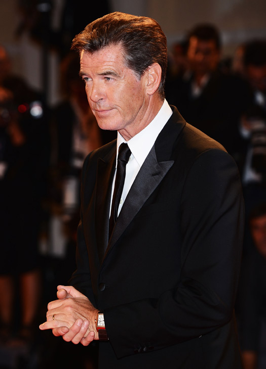 Pierce Brosnan, wearing a suit and a Squadra Rose Gold Jaeger-LeCoultre watch, attends the premiere of 'Love Is All You Need' at