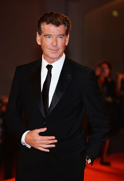 Pierce Brosnan, wearing a suit and a Squadra Rose Gold Jaeger-LeCoultre watch, attends the premiere of 'Love Is All You Need' at the Venice Film Festival in Italy on Sept. 2, 2012.